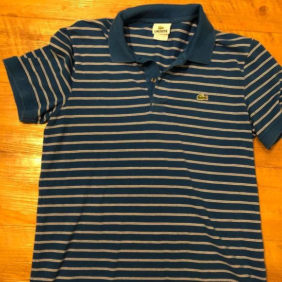9678da9576 Lacoste Shirts   Blue And White Striped Polo   Poshmark